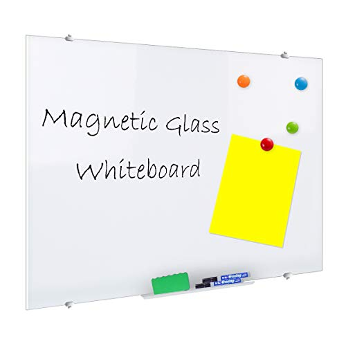 ZHIDIAN Glass Dry Erase Board, Magnetic Ultra White Board for Wall, 4' x 6' - 4 Markers, 2 Erasers, 4 Magnets