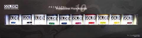 Golden Acrylic Paints - Golden Fluid Acrylic, 1 Ounce Set Of 10, Assorted Colors
