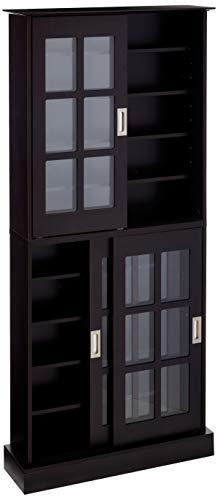 Atlantic Windowpane Multimedia-Storage Cabinet - Tempered Glass Pane Style, Sliding Doors, Stores 720 CDs, 288 DVDs, 144 CDs or 348 Blu-Rays, Adjustable Shelves, 71.5 X 32 X 9.5 inches PN in Espresso