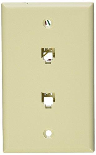 Leviton 40944-I Standard Telephone Wall Jack, 6P4C X 6P4C, Screw Terminals, Ivory