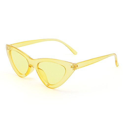 Livhò Retro Vintage Narrow Cat Eye Sunglasses for Women Clout Goggles Plastic Frame (Clear -