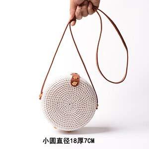 2019 Ins Sen White Mini Rattan Bags Mujer Circle Retro Handbags Art Hasp Straw Bag Handmade Butterfly Woven Pu Belt Bags (Round)