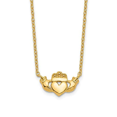 - 14k Yellow Gold Irish Claddagh Celtic Knot Chain Necklace Pendant Charm Fancy Celtic/claddaugh Fine Jewelry Gifts For Women For Her