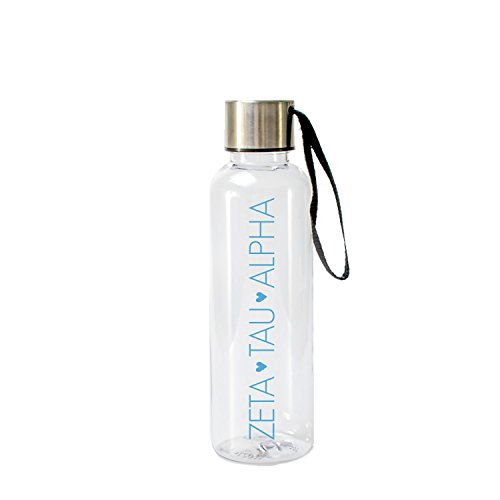 A-List Greek 17 Oz Water Bottle - Eco Friendly & BPA-Free AS Plastic Sports Bottles with Strap Features with Ice Blue Color Sorority Block Letters Zeta Tau Alpha | Perfect - Tau Colours