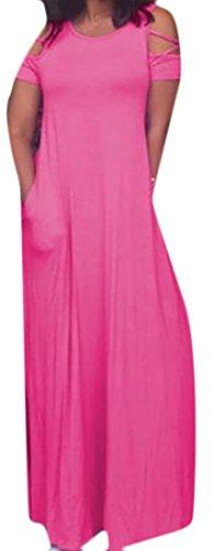 Domple Out Maxi Dress Womens Crewneck Pockets Stylish Pink Cut Shoulder Long ggHrxpqwf