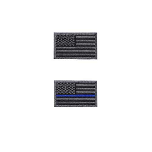 (2 Pieces Tactical USA Flag Patch -Black & Gray- American Flag US United States of America Military Uniform Emblem Patches -Thin Gray & Blue Line)