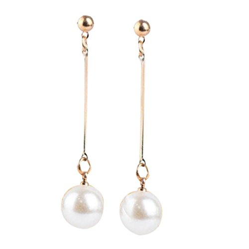 Yang-Yi 2018 1 Pair Fashion OL Womens Imitation Pearl Ear Stud Pearl Long Dangle Earring (6CM, As Show)