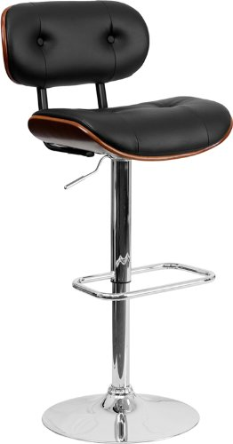 picture of Flash Furniture Walnut Bentwood Adjustable Height Bar Stool with Button Tufted Black Vinyl Upholstery