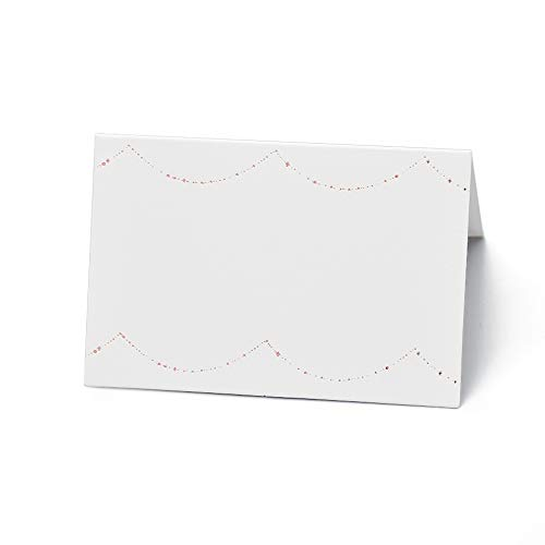 AZAZA 50 Pcs Place Cards with Rose Gold Foil - Table Tent Cards Seating Place Cards for Weddings Banquets Dinner Parties 2.5