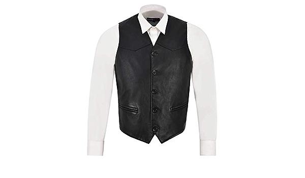 Smart Range Leather Co Ltd. Chaleco de Cuero para Hombre ...