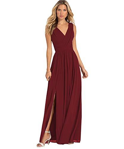 Yilis Women's Double V Neck A Line Slit Chiffon Chiffon Bridesmaid Dress Long Formal Prom Wedding Party Gown Burgundy US8 Burgundy Bridesmaids Prom Gown