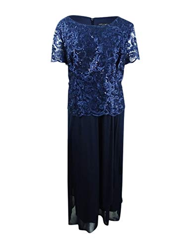 Alex Evenings Women's Plus Size Tea-Length Lace Mock Dress, Navy ()
