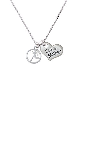 (Runner Silhouette in 1/2'' Disc - Godmother Heart Necklace)