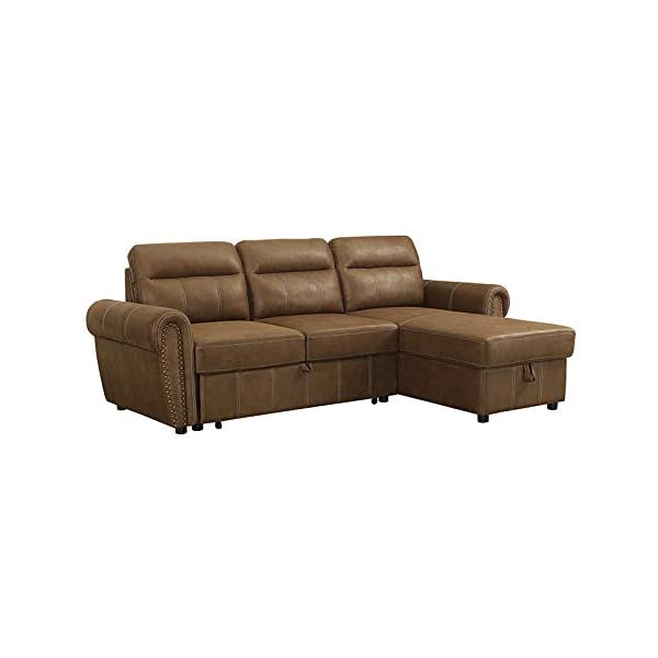 Sectional Sofa with Reversible Storage Chaise 2 Piece Set Microfiber (Light Brown), Pull-Out Bed, Great for Living Room & Office, 2019 Updated Model by Bliss Brands