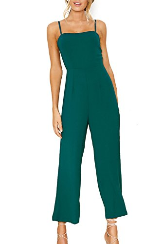 Minipeach Womens Solid Color Backless Sleeveless Wide Long Pants Jumpsuit Rompers Green Medium