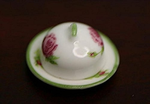 Dollhouse Miniature Small Covered Platter in Rose Design