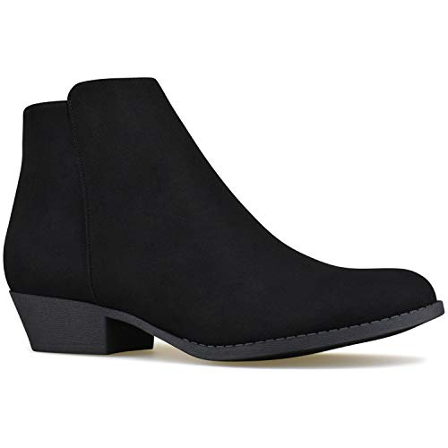 Premier Standard - Women's Side Zipper Closed Toe Booties - Low Heel Casual Comfortable Walking Booties Black Suede