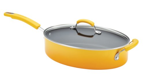 Yellow Oval Baking Dish - Rachael Ray Porcelain Enamel II Nonstick 5-Quart Covered Oval Saute, Yellow Gradient