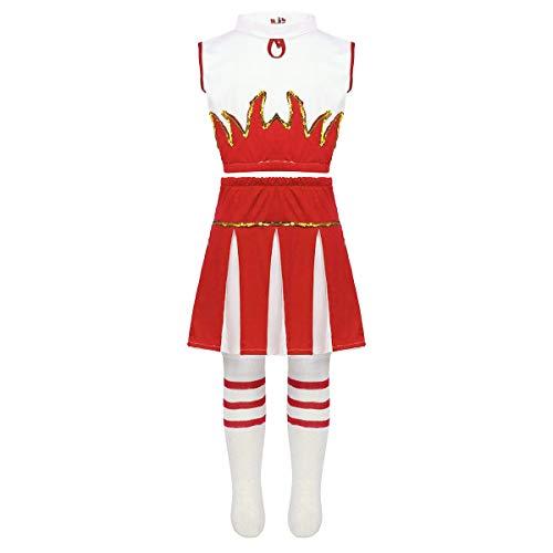 inlzdz Girls Cheer Leader Costume Crop Top Mini Skirt with Sock School Cheerleading Uniform Cosplay Outfit Red 12-14 ()