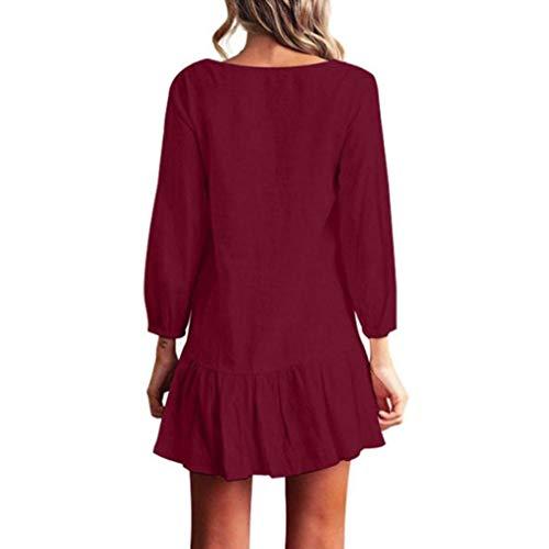POLP Vestidos Corto Mujer ◉ω◉ Ropa otoño Mujer, Vestido de Tirantes de Playa de Moda Vestido Maxi Elegante de Cintura Alta, Color sólido Blusa, ...