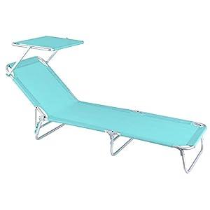 Tumbona Playa Cama con Parasol de 3 Posiciones de Aluminio y textileno de 190x58x25 cm (Aguamarina)