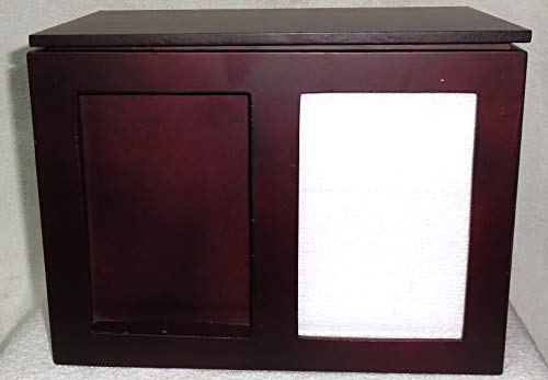Mahogany Urn - Mahogany Cremation Urn - Wood Funeral Urn for Human Ashes - with Photo Frame - Suitable for Cemetery Burial or Niche - Large Size fits Remains of Adults up to 200 lbs - Caralou by Liliane Memorials