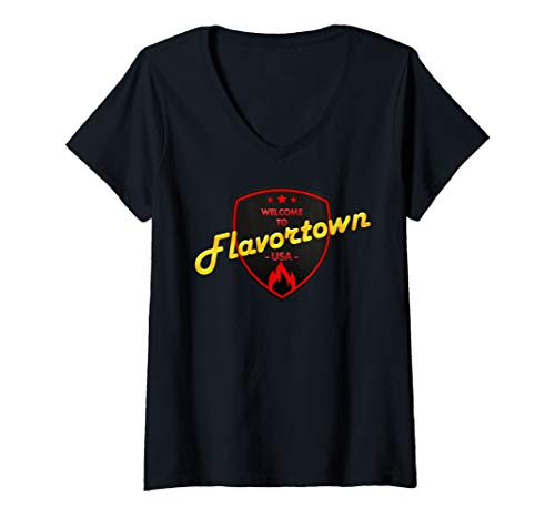 Womens Flavortown Food Culture V-Neck T-Shirt (Diners Drive Ins And Dives Food Trucks)