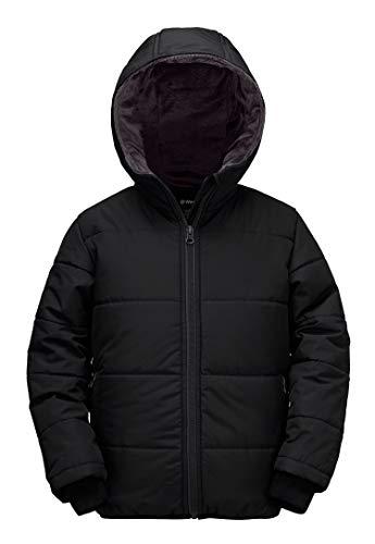 Wantdo Boy's Windproof Coat Hooded Fleece Lined Jacket Anorak Black 14/16