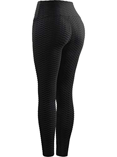 Neleus Women's 2 Pack Tummy Control High Waist Leggings Out Pocket,9036,Black/Blue,S,EU M by Neleus (Image #4)