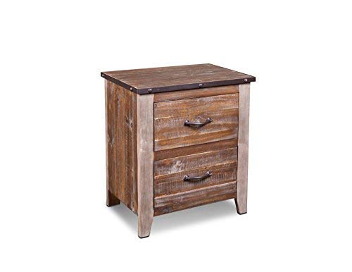 - Crafters and Weavers Bayview Rustic Industrial Solid Wood 2-Drawer Nightstand