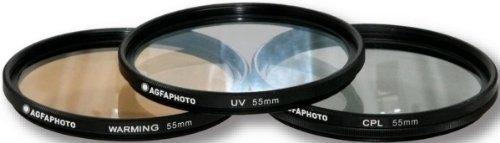 AGFA 3-Piece Professional Filter Kit 55mm - Ultraviolet (UV) + Circular Polarizor (CPL) + Warming Intensifier APFTK55