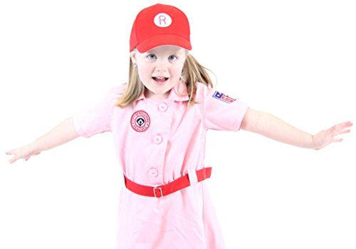 [Rockford Peaches AAGPBL Pink Baseball Girls Costume Dress (5/6)] (Baseball Costume Accessories)