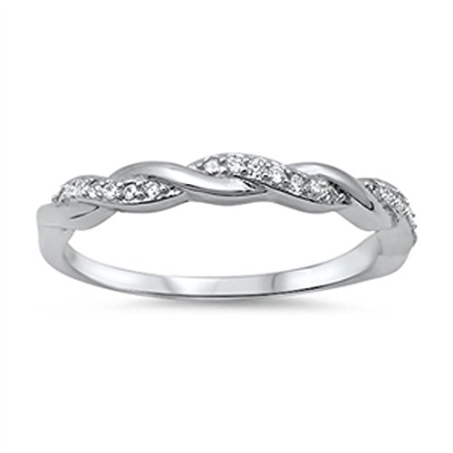 Infinity Braid Clear CZ Promise Ring New .925 Sterling Silver Band Size 10 by Sac Silver