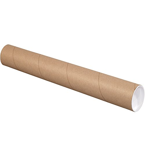 "Aviditi P4024KHD Heavy-Duty Mailing Tubes with Caps, 4"" x 24"", Kraft (Pack of 12)"