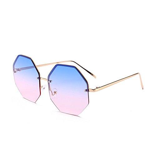 Uv400 C7 De Enormes Sombras Pink Sol Gafas Gafas De Lujo Reborde Señoras De Sol Sin Grandes C11 Gold Oro Unas Mujer Blue TIANLIANG04 De Violeta Octagon Viajes WwqnFAH0EU