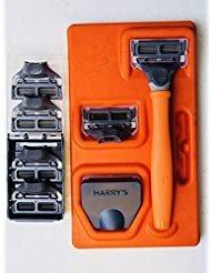 Harrys Mens Razor Set with 6 Razor Blades (Bright Orange)