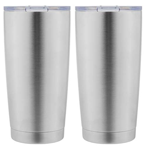 (DOMICARE 20oz Stainless Steel Tumbler with Lid, Double Wall Vacuum Insulated Travel Mug, Durable Insulated Coffee Cup,2 Pack, Stainless Steel)