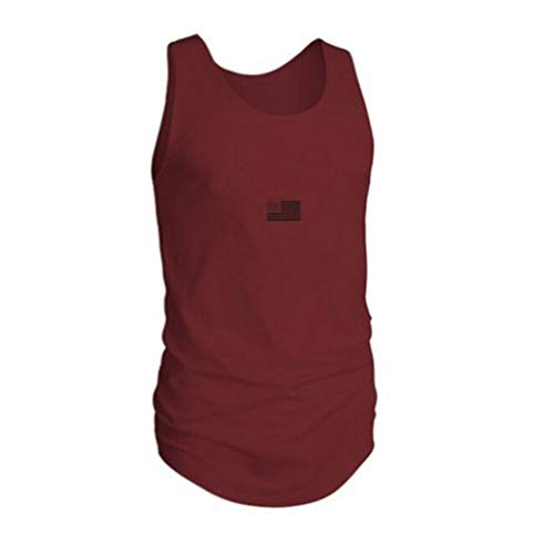iHPH7 Tank Tops Men Flag Printed Sports Vest Striped Splice Large Open-Forked Male Vest XL Red ()