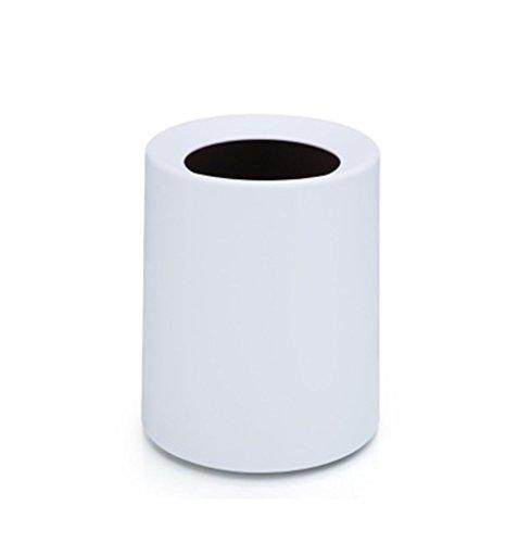 Topdo 6 Colors Fashion Trash Can Plastic Trash Bin Can Rubbish Bin Trash Can Wastebasket Without Lid 8 Gallon-White