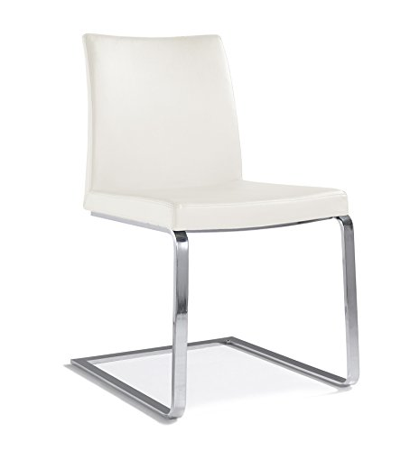 Bethany Leather Cantilever Dining Side Chair - White Leather