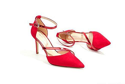 Red 36 Femme Rouge 5 6177 55 7 Compensées No EU Sandales 55 zgwgS8