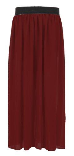 Fast Fashion donna Chiffon elastico a lungo maxi-Rock(40/42=ML, vino)