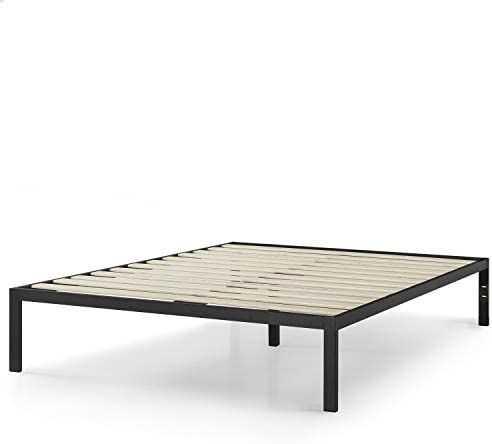 Zinus Mia Modern Studio 14 Inch Platform 1500 Metal Bed Frame / Mattress Foundation / No Box Spring Needed / Wooden Slat Support / Good Design Award Winner / Black, Queen 31jqfQzhYgL