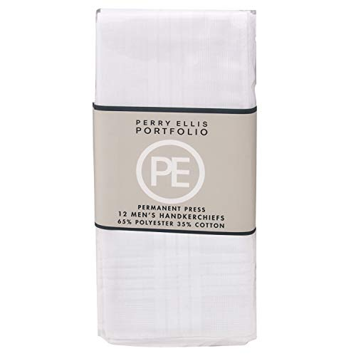 Perry Ellis 12 Pack Handkerchief (Permanent Press White with Satin Cord, 16