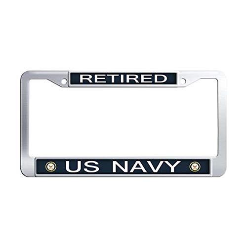FramePro Retired US Navy License Plate Frame Stainless Steel Popular Auto License Cover Holder