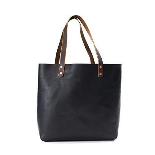 Leather Tote Bag for Women, Leather Shoulder Bag, Leather Purse-Black