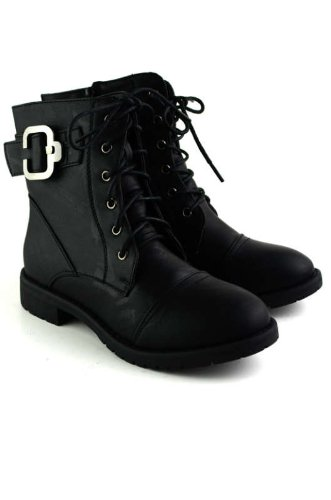 Club 25 Womens Military Lace up Combat Boot Black