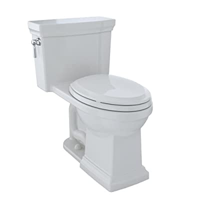 TOTO MS814224CEFG#11 Promenade II One-Piece Elongated 1.28 GPF Universal Height Toilet with CeFiONtect, Colonial White