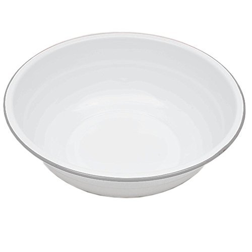 Enamelware Basin, 8 quart, Vintage White/Grey