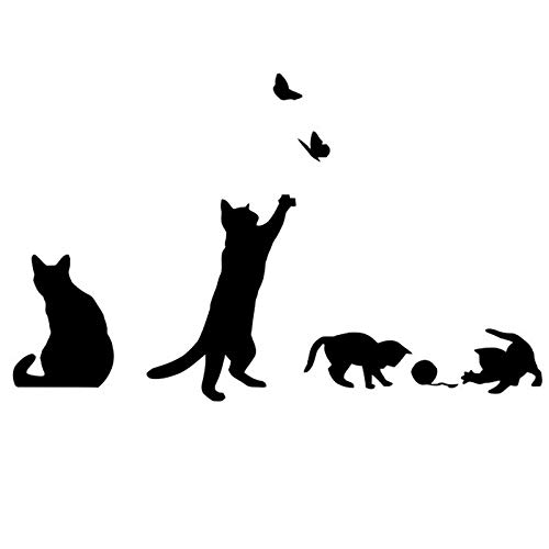 Decals Wall Appliques (Black Cats Design Catching Butterfly Playing with Ball Art Peel & Stick Wall Stickers DIY Vinyl Wall Decals Applique for Home Stairway Decor Baseboard)
